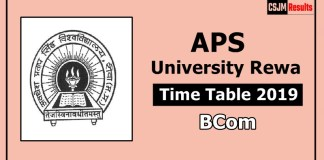 APS University Rewa BCom 1 2 3 Year Time Table Exam Date Sheet 2019