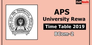 APS University Rewa BCom 2 Year Time Table Exam Date Sheet 2019
