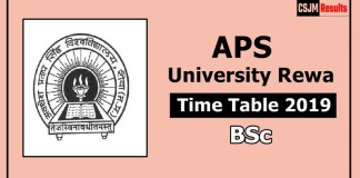 APS University Rewa BSc 1 2 3 Year Time Table Exam Date Sheet 2019