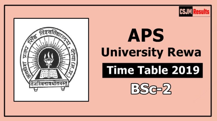 APS University Rewa BSc 2 Year Time Table Exam Date Sheet 2019