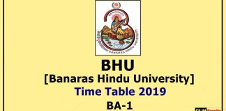 BHU [Banaras Hindu University] BA 1 Year Time Table 2019
