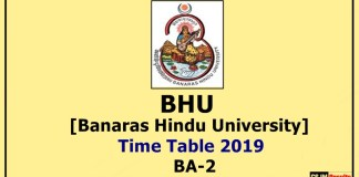 BHU [Banaras Hindu University] BA 2 Year Time Table 2019