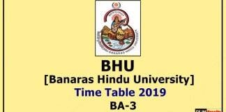BHU [Banaras Hindu University] BA 3 Year Time Table 2019