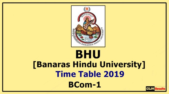 BHU [Banaras Hindu University] BCom 1 Year Time Table 2019