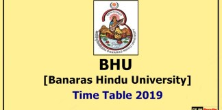 BHU [Banaras Hindu University] Time Table 2019