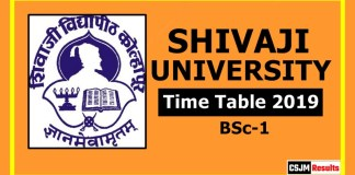 Shivaji University BSc 1 Year Time Table 2019  Part 1