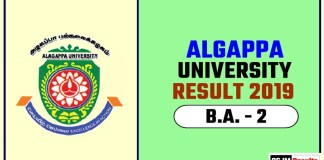 Algappa University BA 2nd Year Result 2019