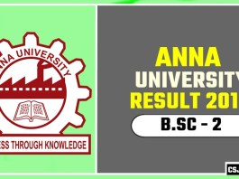 Anna University BSc 2nd Year Result 2019
