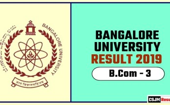 Banglore University BCom 3rd Year Result 2019