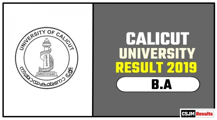 Calicut University BA 1st 2nd 3rd Year Result 2019