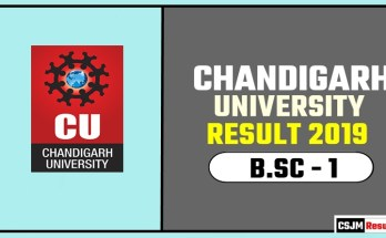 Chandigarh University [CU] BSC 1st Year Result 2019