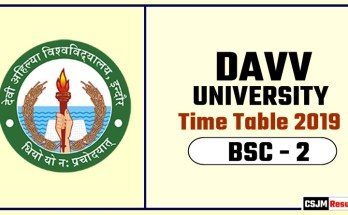 DAVV BSC 2 Year Time Table 2019  Devi Ahilya University Date Sheet
