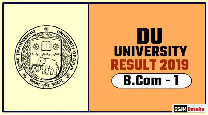 DU BCOM 1st Year Result 2019 Delhi University
