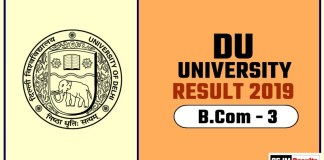 DU BCOM 3rd Year Result 2019 Delhi University