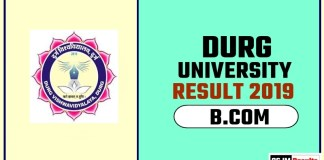 Durg University BCOM 1st 2nd 3rd Year Result 2019