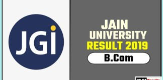 Jain University BCom 1st 2nd 3rd Year Result 2019