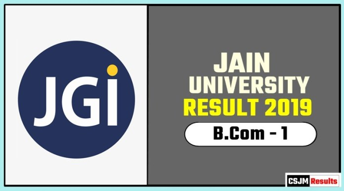 Jain University BCom 1st Year Result 2019