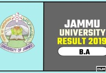 Jammu University BA 1st 2nd 3rd Year Result 2019
