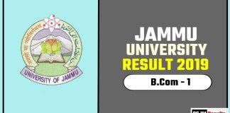 Jammu University BCOM 1st Year Result 2019