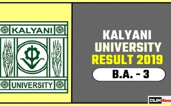 Kalyani University BA 3rd Year Result 2019