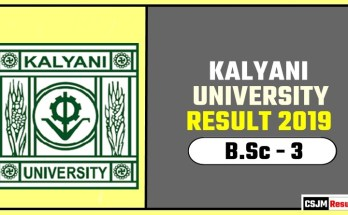Kalyani University BSc 3rd Year Result 2019