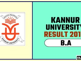 Kannur University BA 1st 2nd 3rd Year Result 2019
