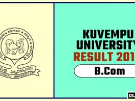 Kuvempu University BCom 1st 2nd 3rd Year Result 2019