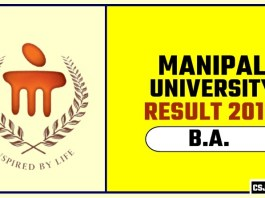 Manipal University BA 1st 2nd 3rd Year Result 2019