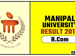 Manipal University BCom 1st 2nd 3rd Year Result 2019