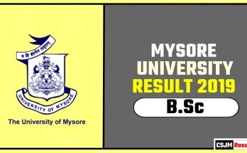 Mysore University BSc 1st 2nd 3rd Year Result 2019