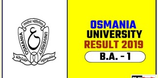 Osmania University BA 1st Year Result 2019