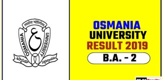Osmania University BA 2nd Year Result 2019