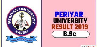Periyar University BSc 1st 2nd 3rd Year Result 2019