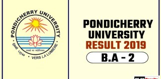 Pondicherry University BA 2nd Year Result 2019