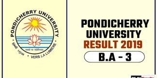 Pondicherry University BA 3rd Year Result 2019