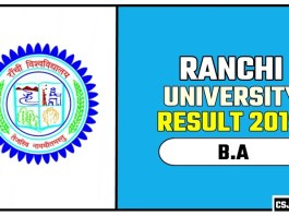 Ranchi University BA 1st 2nd 3rd Year Result 2019