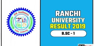 Ranchi University BSC 1st Year Result 2019