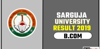 Sarguja University BCOM 1st 2nd 3rd Year Result 2019