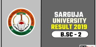 Sarguja University BSC 2nd Year Result 2019