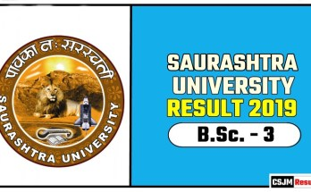 Saurashtra University BSc 3rd Year Result 2019