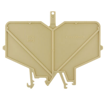 End and partition plate for terminals, End and intermediate plate, 82 mm x 3 mm, beige