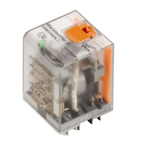 Power relay, 48 V DC, Green LED, 1 NO contact with blow-out magnet and test button (AgSnO2) , 500 V AC, 16 A