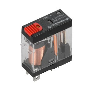 Miniature industrial relay, 115 V AC, red LED, 1 CO contact with test button (AgNi) , 250 V AC, 10 A