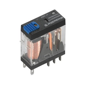 Miniature industrial relay, 110 V DC, Green LED, Free-wheeling diode, 2 CO contact with test button (AgNi) , 250 V AC, 5 A