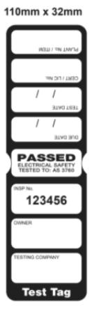 TEST TAG, SLIM, CSL, BLACK, 1 YEAR, 100/PK