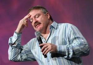 Auditorium Speaker James Van Praagh does his thing.