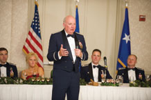 (USAF photo) Major General Thomas F. Deppe, Vice Commander, Air Force Space Command, speaks at a dining out to celebrate the 20th Space Control Squadron's 40th anniversary.