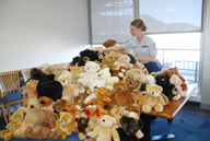 Master Sgt. Lynn Barron, 10th Medical Support Squadron, readies teddy bears for pick-up by the Colorado Springs Police Department. For a community service project, the 10th MDSS collected 134 of the bears which are used to comfort trauma victims. (Photo by Ann Patton)