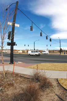 (U.S. Air Force photo/Scott Prater) Palmer Park Boulevard and Space Center Drive ranks the second most dangerous intersection by city traffic engineers.