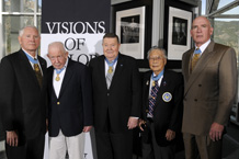 Medal of Honor recipients Leo Thorsness (left), Bernie Fisher, Joe Jackson, George Sakato and Peter Lemon were honored guests during the presentation of the Visions of Valor portrait collection in the McDermott Library April 3. (Photo by Mike Kaplan)